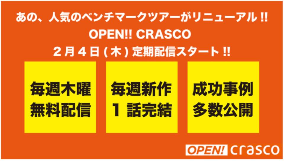 最新の不動産業界トピックスが動画で手軽に!!「月イチ!SWITCH」「OPEN!!CRASCO」メルマガ配信を開始しました!